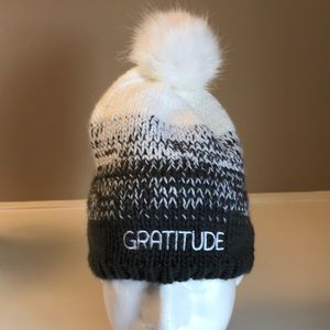 Winter stocking hat words gratitude all'swell